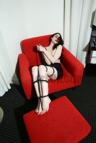 New York City professional switch professional submissive Lori DiLetto rope bondage red toes