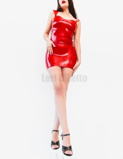 New York City dominatrix professional switch Lori DiLetto red latex pleasers