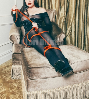 New York City professional switch professional submissive Lori DiLetto body stocking rope bondage